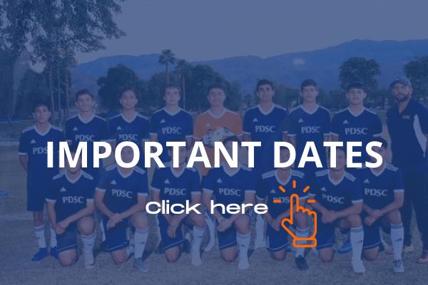 important dates for Palm Desert recreational soccer